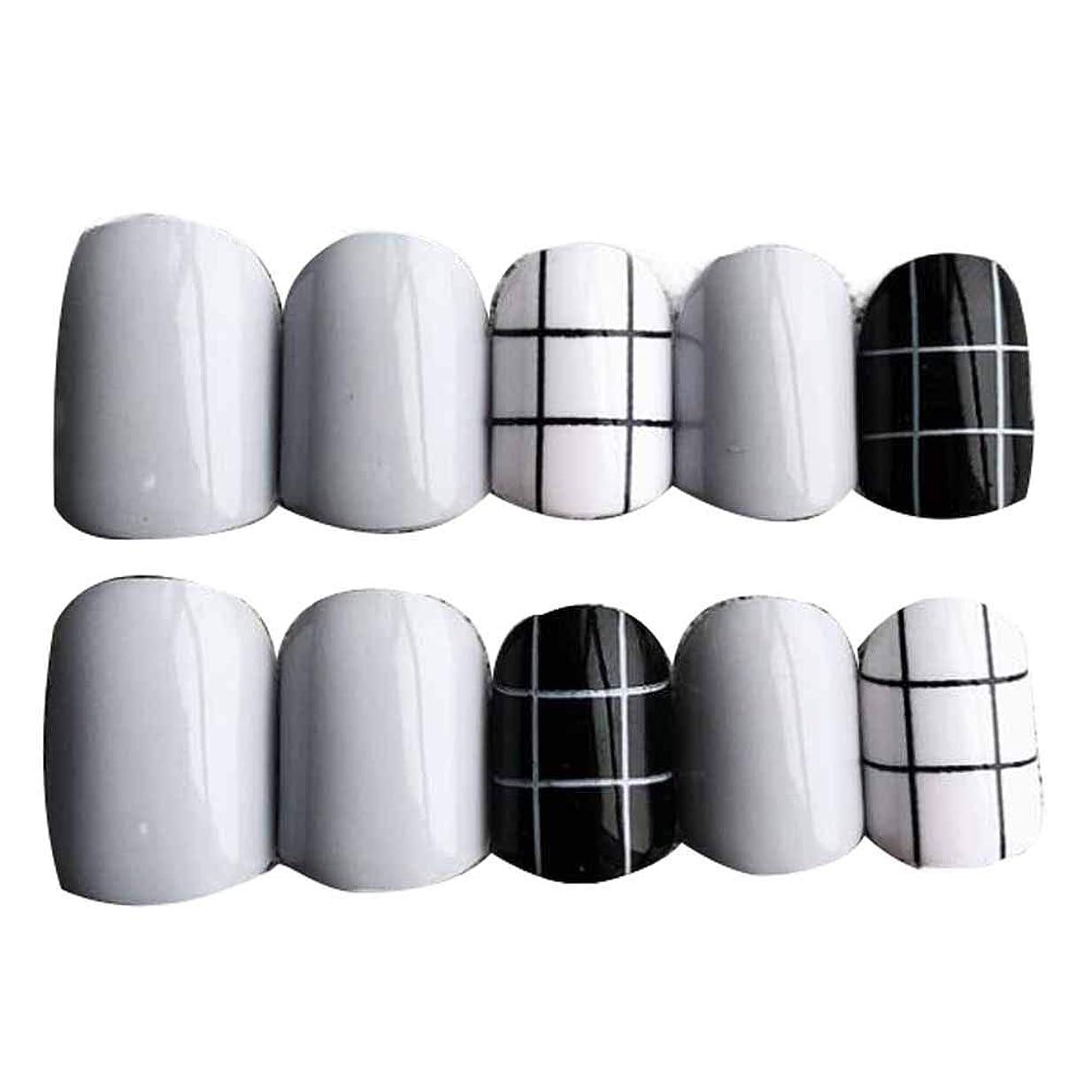 敬意を表するファーザーファージュ軽減するグレー/ブラック 丸い偽爪人工偽爪のヒント 装飾
