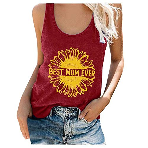Mujeres Tank Tops Loose Fit Sunflower Print Best Mom Ever Letter Vest Summer Casual Camiseta...