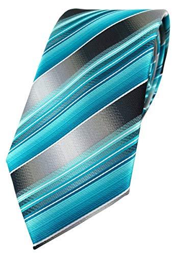 TigerTie Designer Krawatte in türkis silber anthrazit grau gestreift