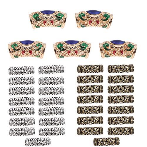 Sharplace 35pcs Perles En Tressage De Cheveux Tressage Fabrication Bijoux en Métal