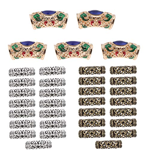 Sharplace 35pcs Perles En Tressage De Cheveux Tressage Fabrication Bijoux en Métal