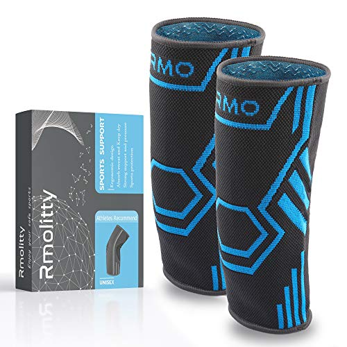 Rmolitty Kniebandage, Knieschoner für Damen & Männer, Sport rutschfest Atmungsaktiv Patella Rehband Bandage für Fußball, Joggen oder Fitness