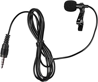 Hemobllo 2pcs Mini Microphone Portable Clip on Lapel Lavalier Condenser Wired Microphone Mic for Mobile Phone Camera Lapto...