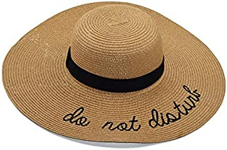 Quanshijie Do not Disturb Beach Fashion Brim Sunscreen Straw hat Embroidered Letter Sunshade hat Foldable