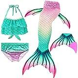 Le SSara 2018 New Muchachas Sirena Tails Bikini Traje de baño 4PCS Traje de baño con Aleta para Nadar Cosplay (140, GB02+Pink)