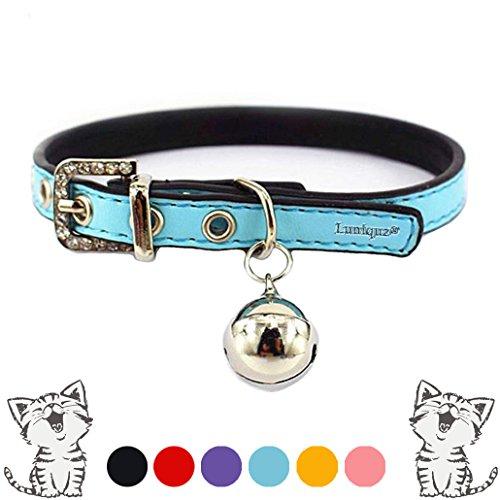 Luniquz PU Leder Crystal Haustier Halsband Katzenhalsband Kleinhundehalsband Gürtel Halsband mit Schelle Schmuck für Katzen/Kleinhunde/klein Haustier - blau XS 7