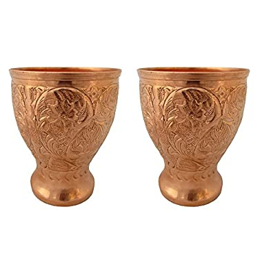 Galaxy Karmaa Set Of Two Copper Glass, Drinking Serving Water, Yoga Ayurveda