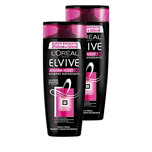 L'Oréal Paris Elvive Arginina Resist X3 Shampoo Rinforzante per Capelli Fragili, 2 x 300 ml