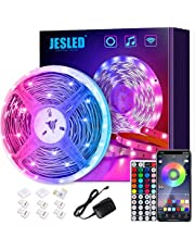 JESLED LED Strip Lights, 5M Smart Wifi LED Light Strips for Bedroom Works with Alexa & Google App, Color Changing RGB LED Lights with 44-Key Remote, Gaming & Living Room, Home, Kitchen Decorations