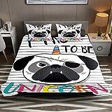 Juego de funda de edredón de microfibra de fácil cuidado con diseño de perro Bulldog de unicornio, color blanco y negro