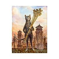 キャンバス上の数字に応じた大人のペイントカラー用の数字キットによるDIY油絵ペイント16x20インチ-ブラシ装飾付きの描画(フレームなし) セプターと猫