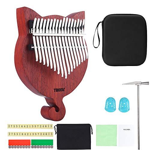 TREELF 17 Schlüssel Kalimba Katze niedlichen Daumen Klavier Geschenke für Kinder Kalimba Liebhaber und Anfänger…