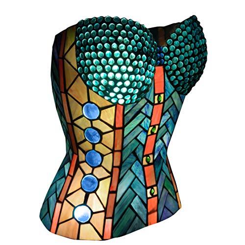 World Art TW60561 Lampes Style Tiffany Lampe sculpture de table corset, 39,5x32,5x25,5 Cm