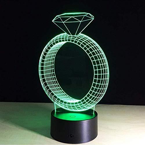 Anillo de diamante creativo 7 que cambia de color 3D LED luz de la noche, dormitorio decoración de la boda regalo lámpara de mesa, dar amor a la novia del regalo de cumpleaños Chica Pareja