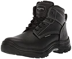 powerful Men's Skechers for Work Industrial Boots by Burgin-Tarlac, Black Embossed Leather, 12 M US