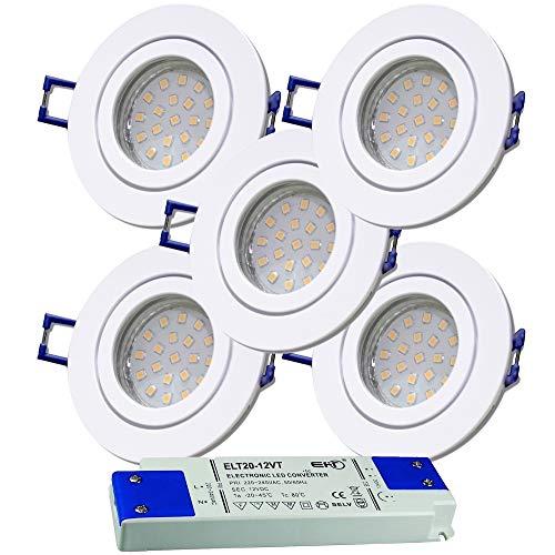 LED Bad Einbaustrahler 12V inkl. 5 x 3W SMD LM Farbe Weiß IP44 LED Einbauleuchten Neptun Rund 4000K mit Trafo