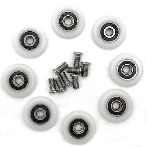 1015 - Lot de 8roues de rechange pour porte de douche de 23mm de diamètre
