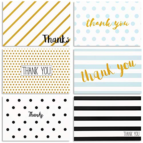 144-Count Thank You Cards with Envelopes, Bulk Notes Set, Blank Inside, 6 Unique Polka Dot and Stripe Designs for Wedding, Baby Shower & All Occasions