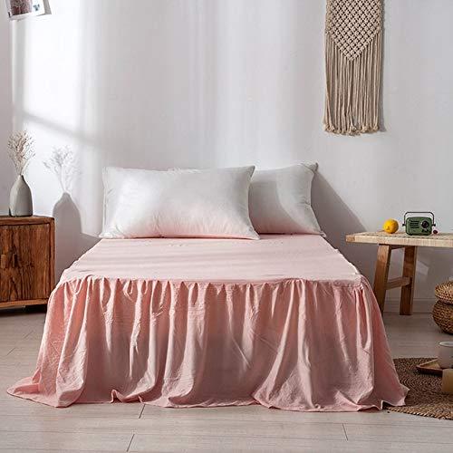 Colcha de Dormitorio Hotel Hogar-Falda de Cama Individual Doble tamaño-Falda de Cama Blanca Sábana con Banda elástica Falda de Cama fácil de Poner/Quitar