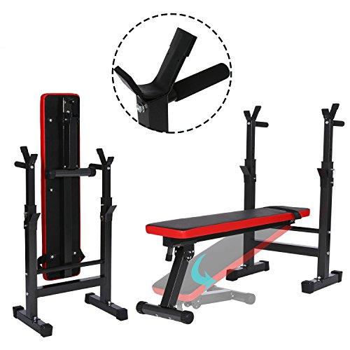 Busyall 3 en 1 Banc de Musculation Pliable Abdominaux et Dorsaux Banc D'entranement Sportif Multifonctions avec Rack Rglable (EU Stock)
