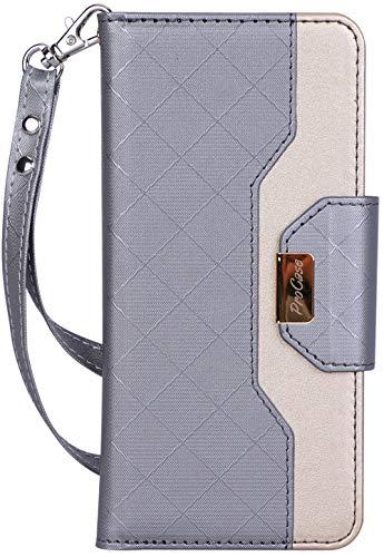 ProCase Portafoglio Custodia Galaxy S10 Plus, Flip Cover Custodia Protettiva con Slot Carte, Specchio Cinturino, Funzione Sostegno e Morsetto Magnetico per 6.4 Samsung Galaxy S10+ -Grigio