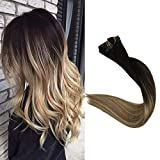 Full Shine 8 Pcs Invisible Clip Hair Extensions 20 Inch Balayage Clip in Remy Hair 100 Gram Dip Dyed Color 2 Fading to 8 Highlighted 22 Seamless Clip In Hair Extensions