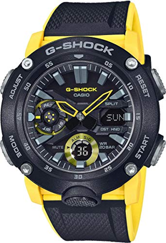 Casio G-SHOCK Reloj Analógico-Digital, Carbonífero, 20 BAR, Amarillo/Negro, para Hombre, GA-2000-1A9ER