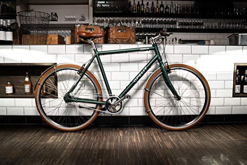 "OPELIT Downtown Citybike, 7-Gang Herren Fahrrad, 60 cm Rahmenhöhe, Aluminium Hydro Rahmen 28"" britisch grün – Shimano Bremsen, Schwalbe Reifen, Selle Royal Sattel"