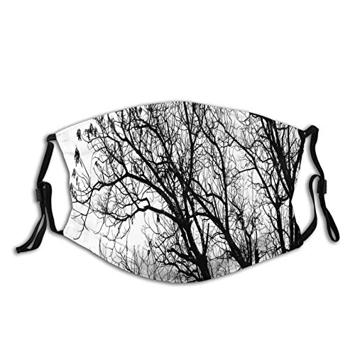 Fashion 2 Layers Washable Protcetion cover Reusable Mask,Leafless Autumn Fall Tree Branches Tops Oak Forest Woodland Season Eco Theme Picture,Printed Facial Decorations for Women and Men with Filter