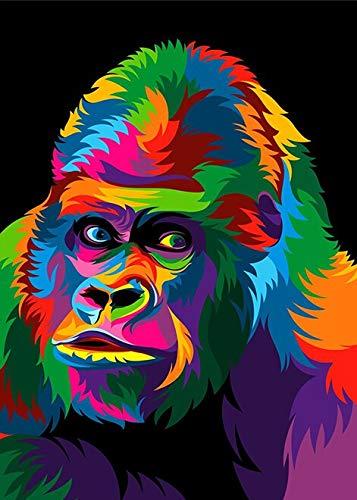 Creativo Acuarela León Orangután Retrato de animal salvaje Pop Poster Impresiones Lienzo abstracto Pintura Arte de la pared Imagen Sala de estar Dormitorio Oficina Decoración del hogar