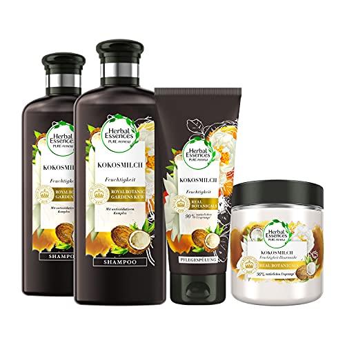 Herbal Essences PURE:renew Haarpflege Set: 2x Kokosmilch, Feuchtigkeit Shampoo 250 ml + 1x Pflegespülung 200 ml + 1x Haarmaske 250 ml, Coconut Milk, Kokos, Haarpflege Glanz, Shampoo Damen, Kokusnuss