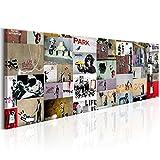 decomonkey Bilder Banksy 150x50 cm 1 Teilig Leinwandbilder Bild auf Leinwand Wandbild Kunstdruck Wanddeko Wand Wohnzimmer Wanddekoration Deko Graffiti Hipster Retro Polizei AFFE