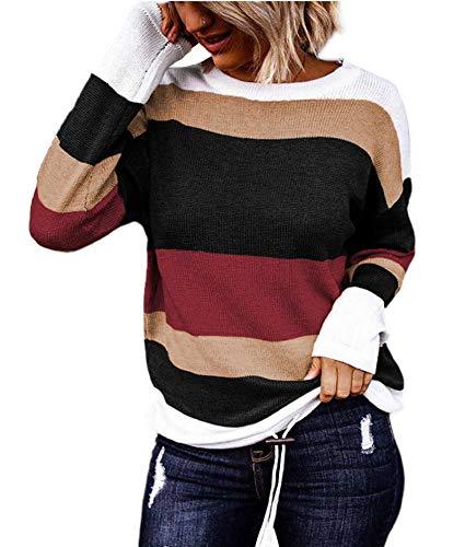 SLYZ Damas Europeas Y Americanas Primavera Hit Color Manga Larga Cuello Redondo Jersey De Punto Blusa Suéter
