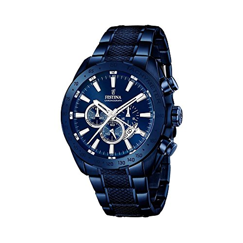 Festina Herren Chronograph Quarz Uhr mit Edelstahl beschichtet Armband F16887/1