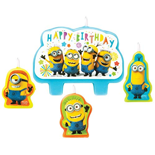Amscan 9907322 - Minivelas con figuras de los Minions, Happy Birthday, 4 unidades
