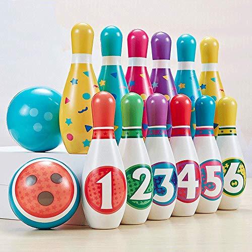 Sxcespp Conjunto de Bolos, 12 Botellas de boliche y 2 Bolas de Bolos, Desarrollo Digital, educación temprana, Juegos de Interior y al Aire Libre, niños, niñas, Regalos