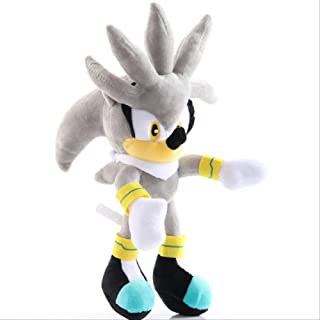n\a Sonic-Shadow-Silver Sonic Plush Toy Amy Rose The Hedgehog Tails Knuckles The Echidna Soft Peluches Muñeca Regalos para Niños 28cm Erizo de Plata