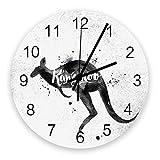 GOSMAO Reloj De Pared Redondo,Silueta De Canguro Vintage Ink - Jet Watercolour,Reloj De Decoración del Hogar para Sala De Estar, Dormitorio, Oficina