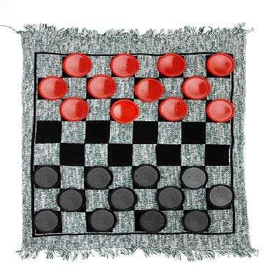 """3 in 1 Giant Checkers - Win SPORTS Mega Tic Tac Toe,Indoor Outdoor Jumbo Classic Board Games Including 28"""" Reversible Rug with 24 Checkers Pieces,Checkers Cloth Mat Game for Travel,Family Party,BBQ"""