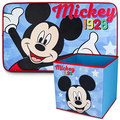 Alfombra Infantil y Caja Juguetes Plegable, Pack Mickey Mouse – Decoracion Habitacion Infantil con Alfombra Dormitorio y Organizador Juguetes Infantil | Caja Guarda Juguetes Niños Mickey Mouse
