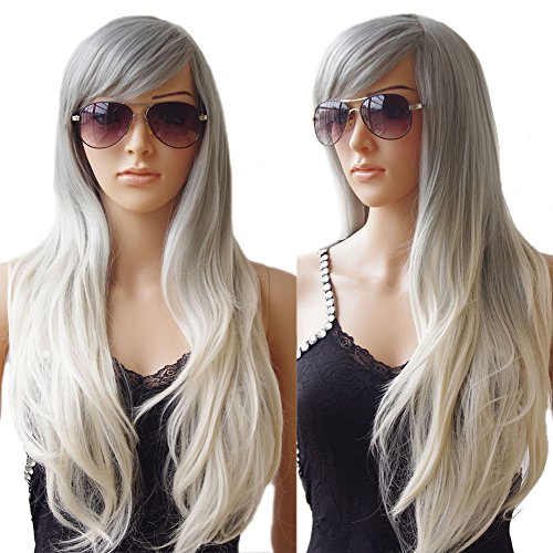 S-noilite® 70cm Damen Lang Ombre Haar Perücken Mode Gelockt Gewellt Perücke Kunsthaar Haar Cosplay Wig - Grau zu weiß
