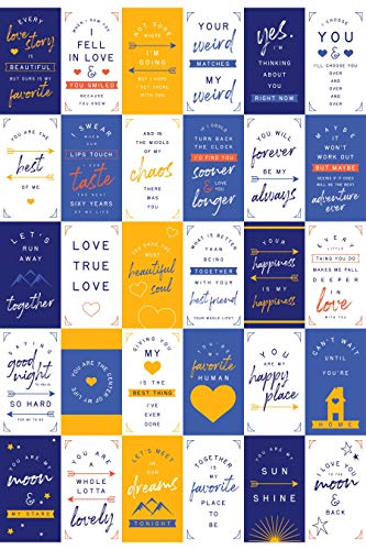 Love Cards for Husband and Wife (60 Pack of His and Her Motivational Notes with 30 Different Designs (3.5 inch x 2 inch)