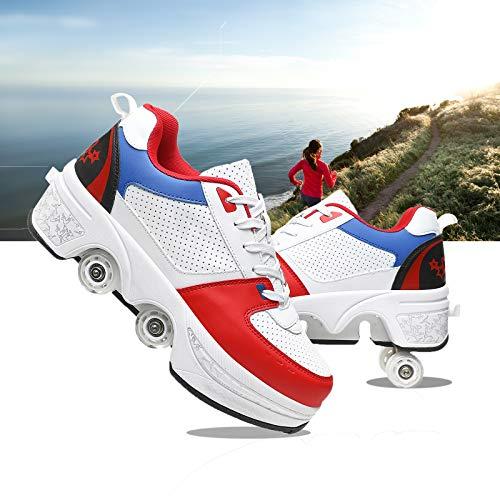 JZIYH Patines De Ruedas para Mujeres Patines En Línea 2 En 1 para Niños Zapatos con Ruedas Zapatos De Skate Cuádruples Ajustables Patinaje sobre Ruedas