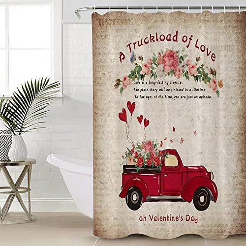 MUXARE Badezimmer Dekor Duschvorhang Wasserdicht Polyester Duschvorhang Valentinstag LKW Luftballons Rosen Happy Love Vintage Zeitung Hintergrund-B180cmxH200cm
