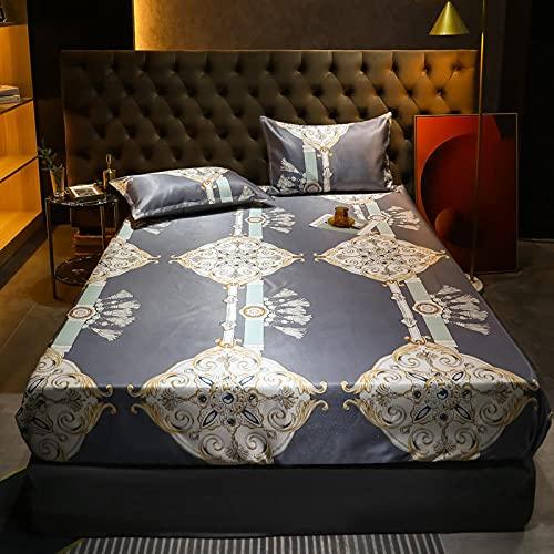 Nuoxuan Bedding Sábana Bajera Ajustable,Hoja de Cama de Tres Piezas de Seda con Hielo, Dormitorio de apartamento Individual Doble tamaño King-Gris_150 * 200 cm