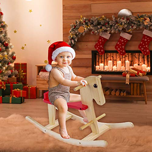 Wooden Rocking Horse, Baby Wood Ride On Toys for 1-3 Year Old, Rocker Toy for Kid, Toddler, Ride Animal Indoor/Outdoor, Boy&Girl Christmas/Birthday Gift (Shipment from USA, Yellow)