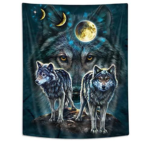 JAWO Wolf Moon Tapestry, Full Moon Night Wild Animal Wolf Tapestries, Wolf Tapestry Wall Hanging for Bedroom Living Yoga Room Dorm Teens Room 60X71Inches
