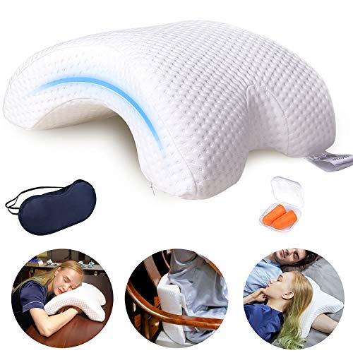 LOCYOP Sleeping Pillow Couple Pillow Arm Pillow Slow Rebound Pressure Cuddle Pillow Memory Foam Travel Arched Shaped U Pillow Providing Comfort and Support Curved Pillow for Couples