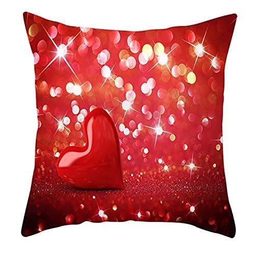 Daesar Cojines Decorativos para Sofa,Cojines Decoracion Sin Relleno,Patrón de Corazón Funda Cojin 40x40 para Sofà Rojo