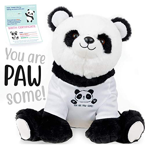 Panda stuffed animal - The Original 'You Are Pawesome' Large Panda Plush Animals Toy. Panda gifts w/ removable shirt for Birthdays, Valentines or Christmas. Cute, Fun, Soft, and Pre Wrapped!
